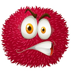 Angry face on fluffy ball vector image vector image