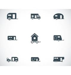 black trailer icons set vector image vector image