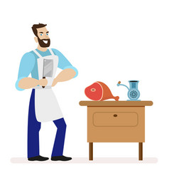 butcher with a kitchen knife for cutting meat is vector image vector image
