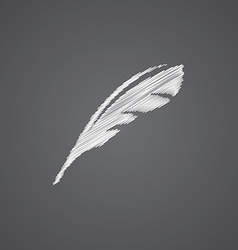 feather sketch logo doodle icon vector image