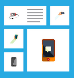 Flat icon phone set of chatting smartphone vector