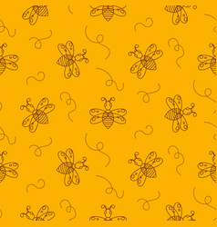 outline bee insect seamless pattern vector image vector image
