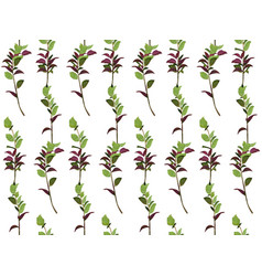 seamless pattern ruscus salal tree green burgundy vector image