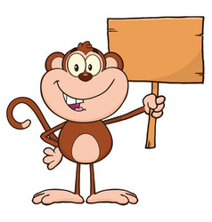 smiling monkey holding up a blank wood sign vector image
