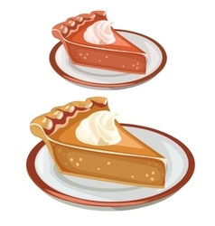 Two cake dessert on plates food isolated vector image vector image