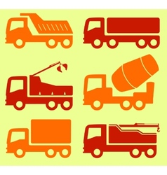 yellow and red industrial transport set vector image vector image