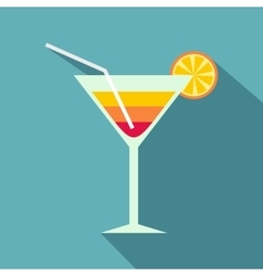Beach cocktail icon flat style vector