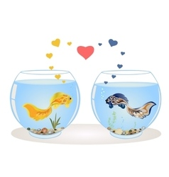 Couple of fish in love vector