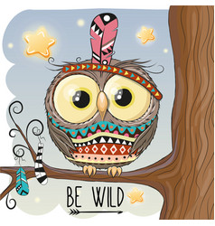 cute cartoon owl on a branch vector image