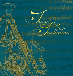 Music background with trumpets and saxophone vector