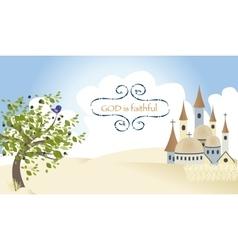 Olive Bird Tree Jerusalem Town Cross Jesus vector image vector image