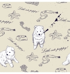 Seamless texture with cute puppies vector image vector image