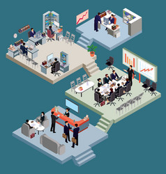 set of isometric people in business suits in the vector image vector image