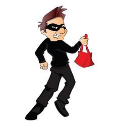 thief running with stolen handbag vector image