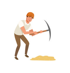 Young man working with pickaxe cartoon vector