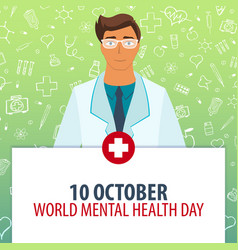10 october world mental health day medical vector
