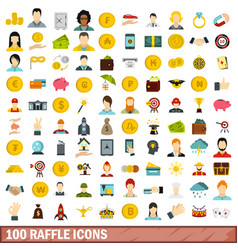 100 raffle icons set flat style vector