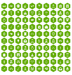 100 valentine day icons hexagon green vector