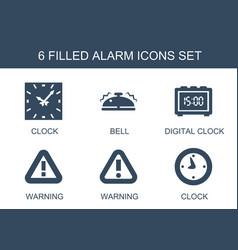 6 alarm icons vector