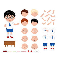 adorable little school boy character constructor vector image