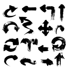 Arrows of different shapes drawn with a brush and vector image