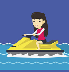Asian woman training on jet ski in the sea vector