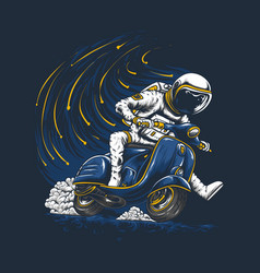 Astronaut riding scooter vector