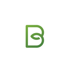 b letter leaf initial nature line art outline vector image