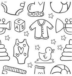 Baby object doodles vector
