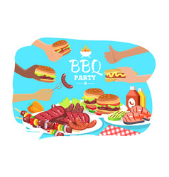 Bbq party poster colorful vector
