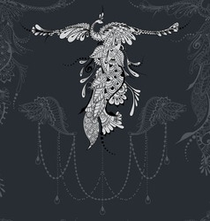 Bird Phoenix lace decor vector image