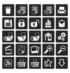 Black 25 simple realistic detailed internet icons vector
