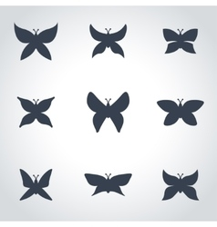 black butterfly icon set vector image