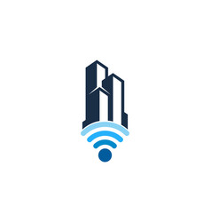 building wifi logo icon design vector image