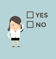 Businesswoman has to decide yes or no vector