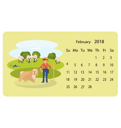 calendar 2018 for february vector image