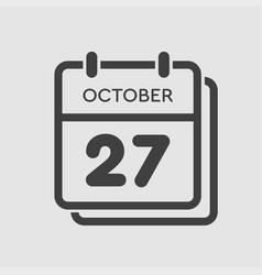 Calendar icon day 27 october template icon date vector