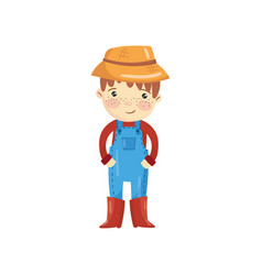 Cartoon character of young farmer in blue overall vector