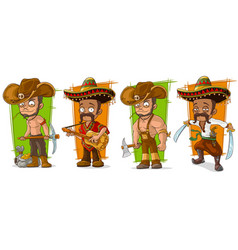 cartoon mexicans and cowboys character set vector image