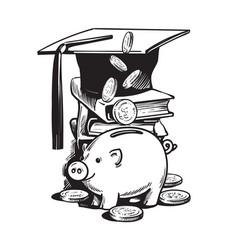 Cartoon piggy bank with graduation hat falling vector