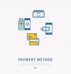 choosing of payment method in mobile app vector image
