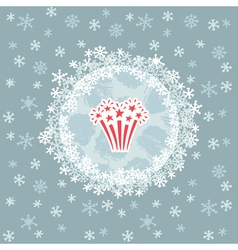 Christmas and new year round frame with firework vector