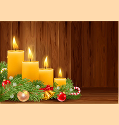 christmas burning candles vector image