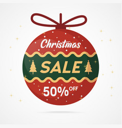 christmas sale red ball decoration vector image