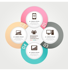Communication technology infographics circle vector