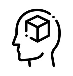 Cube figure in man silhouette mind icon vector