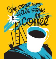 cup coffee in interior repair vector image