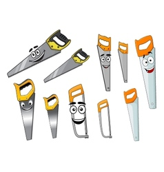Cute cartoon hand saws with serrated blade vector