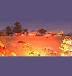 dangerous wildfire grass bushfire forest in smoke vector image