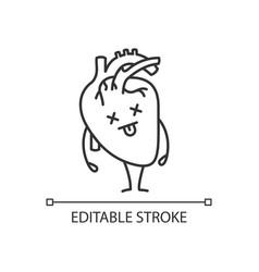 Dead human heart emoji linear icon vector